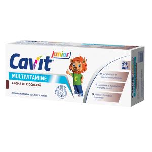 Cavit Jr. Multivitamine cu aroma de ciocolata 20 tablete masticabile