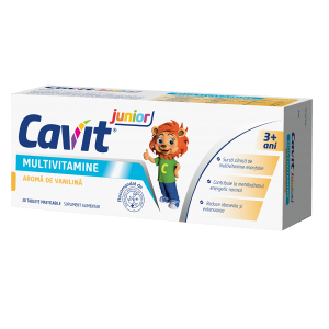 Cavit Jr. Multivitamine cu aroma de vanilie 20 tablete masticabile